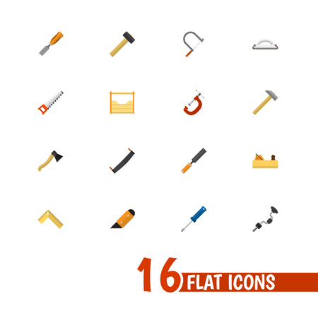Set Of 16 Editable Instrument Icons. Includes Symbols Such As Boer, Meter, Turn-Screw And More. Can Be Used For Web, Mobile, UI And Infographic Design. Illustration