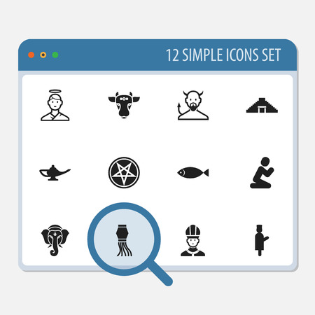 Set Of 12 Editable Dyne Icons. Includes Symbols Such As Diwali, Orison, Satan And More. Can Be Used For Web, Mobile, UI And Infographic Design.