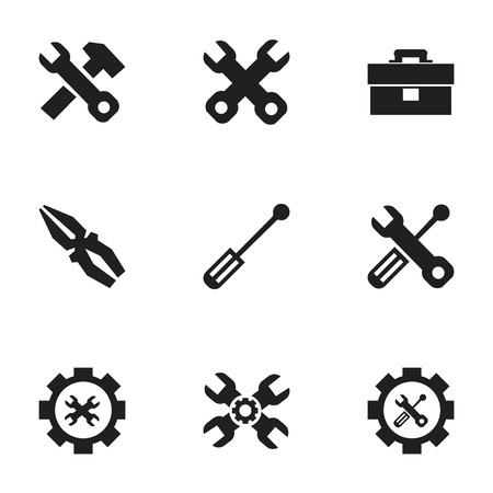 setup: Set Of 9 Editable Mechanic Icons. Includes Symbols Such As Screwdriver, Options, Fix Tool And More. Can Be Used For Web, Mobile, UI And Infographic Design.