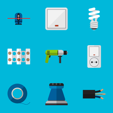 sellotape: Set Of 9 Editable Electric Icons. Includes Symbols Such As Lightbulb, Wire, Adhesive And More. Can Be Used For Web, Mobile, UI And Infographic Design.