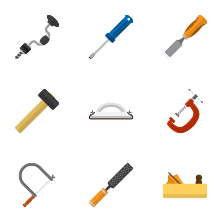 Set Of 9 Editable Apparatus Icons. Includes Symbols Such As Turn-Screw, Emery Paper, Bit And More. Can Be Used For Web, Mobile, UI And Infographic Design. Illustration