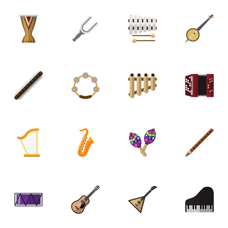 mp3: Set Of 16 Editable Melody Icons. Includes Symbols Such As Harmonica, Sax, Fife And More. Can Be Used For Web, Mobile, UI And Infographic Design. Illustration