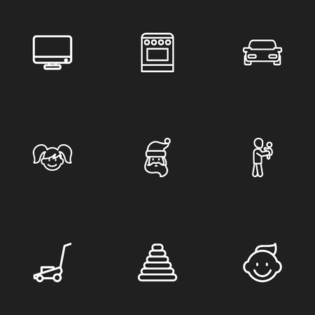 Set Of 9 Editable Relatives Icons. Includes Symbols Such As Tower, Automobile, Grass Cutting Machine And More. Can Be Used For Web, Mobile, UI And Infographic Design. Ilustração