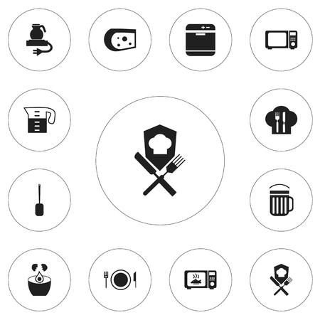 Set Of 12 Editable Restaurant Icons. Includes Symbols Such As Plate, Break Eggs, Water Jug And More. Can Be Used For Web, Mobile, UI And Infographic Design.