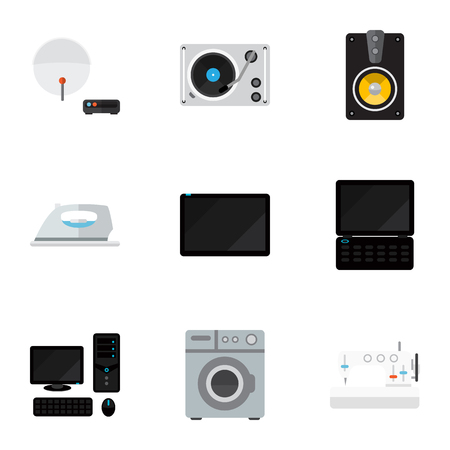 palmtop: Set Of 9 Editable Tech Icons. Includes Symbols Such As Palmtop, Appliance, Turntable And More. Can Be Used For Web, Mobile, UI And Infographic Design.