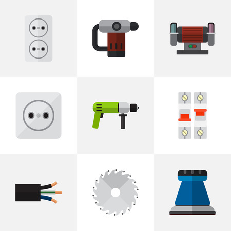Set Of 9 Editable Electric Icons. Includes Symbols Such As Wire, Inserting Nails, Emery Paper And More. Can Be Used For Web, Mobile, UI And Infographic Design.