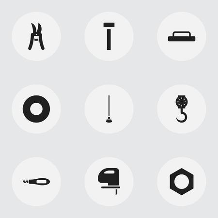 9 編集装置アイコンのセットです。内部の固定ネジ、剪定鋏、ナイフ ボックスなどの記号が含まれています。Web、モバイル、UI、インフォ グラフィ
