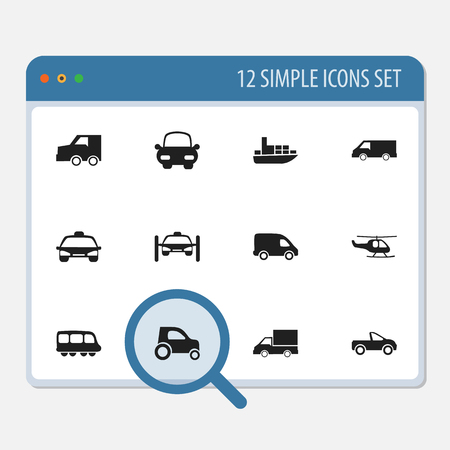 Set Of 12 Editable Transport Icons. Includes Symbols Such As Drophead Coupe, Chopper, Ship And More. Can Be Used For Web, Mobile, UI And Infographic Design.