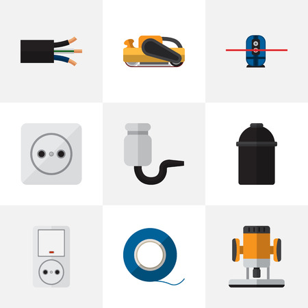 Set Of 9 Editable Electrical Icons. Includes Symbols Such As Sandblast, Jack , Wire. Can Be Used For Web, Mobile, UI And Infographic Design.