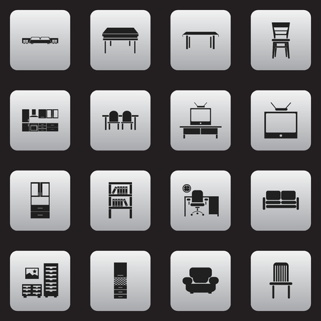 lcd tv: Set Of 16 Editable Furniture Icons. Includes Symbols Such As Trestle, Seat, Office And More. Can Be Used For Web, Mobile, UI And Infographic Design.