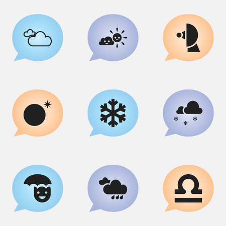 Set Of 9 Editable Climate Icons. Includes Symbols Such As Covered With Snow, Sunny Weather, Satellite And More. Can Be Used For Web, Mobile, UI And Infographic Design.
