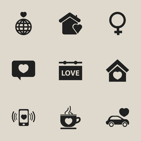 favourite: Set Of 9 Editable Heart Icons. Includes Symbols Such As World, Building, Woman Symbol And More. Can Be Used For Web, Mobile, UI And Infographic Design. Illustration