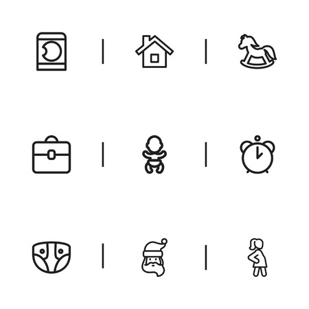 nappy new year: Set Of 9 Editable Relatives Icons. Includes Symbols Such As Father Frost, Nappy, Portfolio And More. Can Be Used For Web, Mobile, UI And Infographic Design.