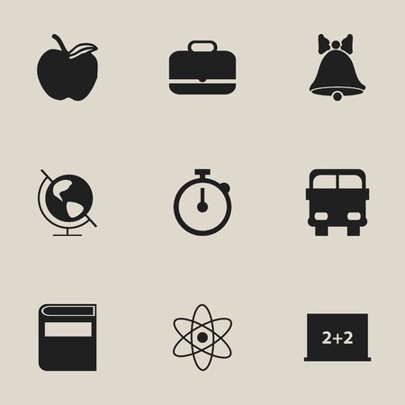 petiole: Set Of 9 Editable Education Icons. Includes Symbols Such As Portfolio, Timer, Molecule And More. Can Be Used For Web, Mobile, UI And Infographic Design. Illustration