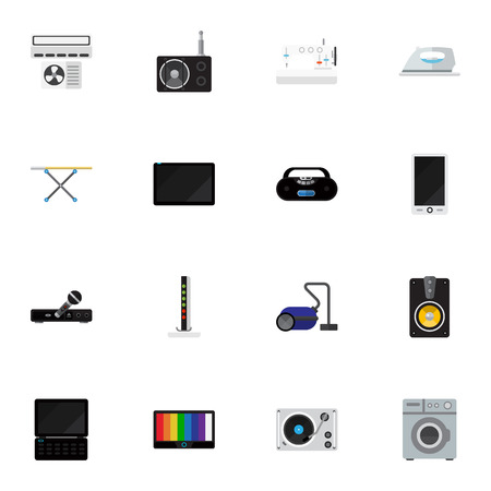 palmtop: Set Of 16 Editable Tech Icons. Includes Symbols Such As Modem, Palmtop, Cassette Player And More. Can Be Used For Web, Mobile, UI And Infographic Design.