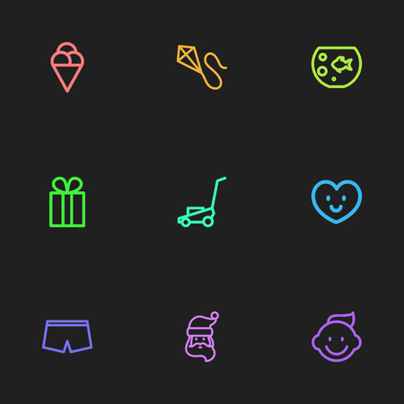 Set Of 9 Editable Folks Icons. Includes Symbols Such As Flying, Baby, Father Frost And More. Can Be Used For Web, Mobile, UI And Infographic Design.