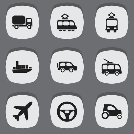 Set Of 9 Editable Transportation Icons. Includes Symbols Such As Part Of Car, Ship, Cable Railway And More. Can Be Used For Web, Mobile, UI And Infographic Design. Illustration