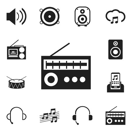 drumming: Set Of 12 Editable Media Icons. Includes Symbols Such As Speaker, Studio Device, Volume Speaker And More. Can Be Used For Web, Mobile, UI And Infographic Design.