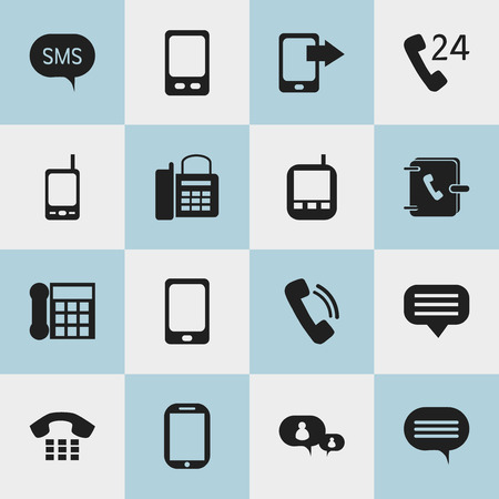 gps device: Set Of 16 Editable Phone Icons. Includes Symbols Such As Message, Radio Talkie, Office Telephone And More. Can Be Used For Web, Mobile, UI And Infographic Design. Illustration
