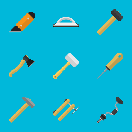 exchanger: Set Of 9 Editable Apparatus Icons. Includes Symbols Such As Knife, Boer, Malleus And More. Can Be Used For Web, Mobile, UI And Infographic Design. Illustration