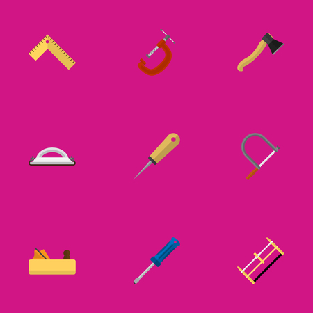 awl: Set Of 9 Editable Instrument Icons. Includes Symbols Such As Bodkin, Handsaw, Axe. Can Be Used For Web, Mobile, UI And Infographic Design.