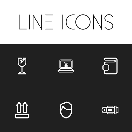 waistband: Set Of 6 Editable Shopping Icons. Includes Symbols Such As Wallet, Men Face, Belt And More. Can Be Used For Web, Mobile, UI And Infographic Design.