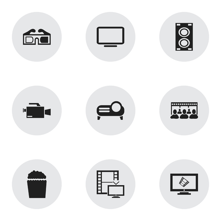 comedy: Set Of 9 Editable Movie Icons. Includes Symbols Such As Television, 3D Glasses, Video Camera And More. Can Be Used For Web, Mobile, UI And Infographic Design.