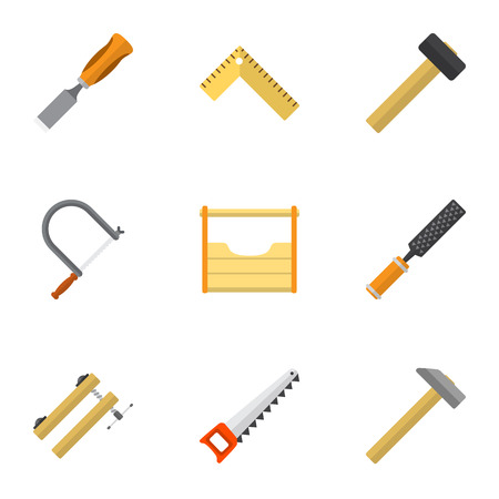 Set Of 9 Editable Tools Icons. Includes Symbols Such As Hacksaw, Meter, Nag And More. Can Be Used For Web, Mobile, UI And Infographic Design.