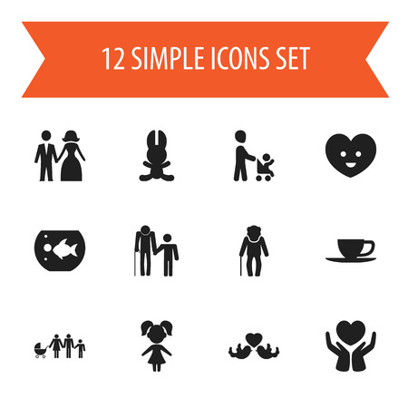grandson: Set Of 12 Editable Folks Icons. Includes Symbols Such As Grandson, Girl, Bunny. Can Be Used For Web, Mobile, UI And Infographic Design.