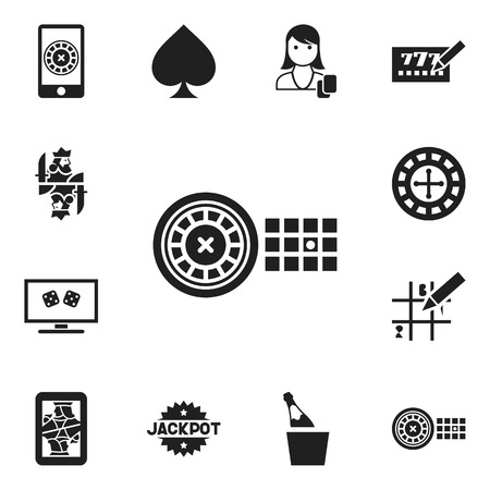 Set Of 12 Editable Excitement Icons. Includes Symbols Such As Game Card, Bottle In Bucket, Backgammon And More. Can Be Used For Web, Mobile, UI And Infographic Design.