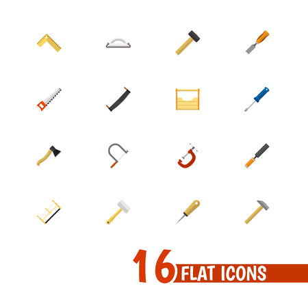 Set Of 16 Editable Instrument Icons. Includes Symbols Such As Bit, Saw, Axe And More. Can Be Used For Web, Mobile, UI And Infographic Design.