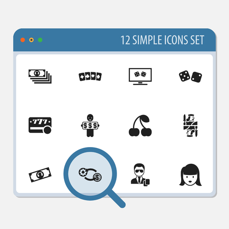 backgammon: Set Of 12 Editable Gambling Icons. Includes Symbols Such As Gambling Cube, Backgammon, Moneys And More. Can Be Used For Web, Mobile, UI And Infographic Design.