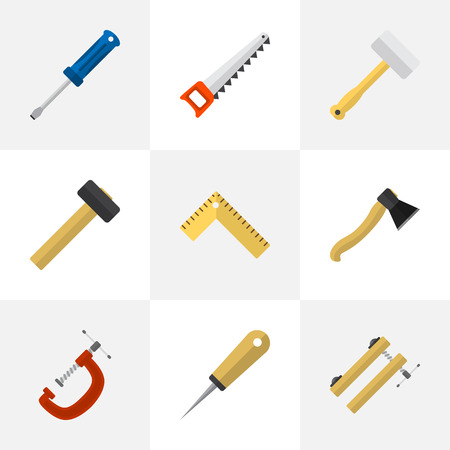 Set Of 9 Editable Tools Icons. Includes Symbols Such As Bodkin, Tool, Malleus And More. Can Be Used For Web, Mobile, UI And Infographic Design.