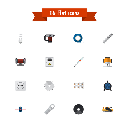drill: Set of 16 editable electric icons includes symbols such as pound, receptacle, lightbulb and more. Can be used for web, mobile, UI and infographic design.