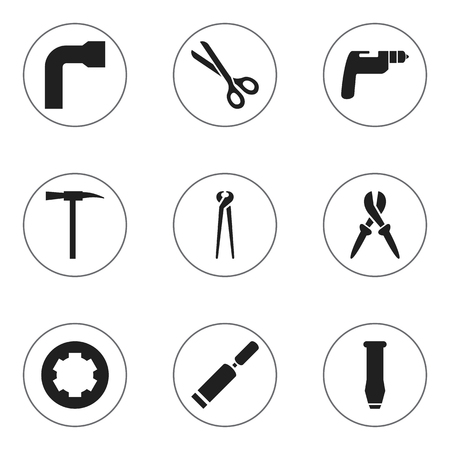 crowbar: Set Of 9 Editable Apparatus Icons. Includes Symbols Such As Pickaxes, Wheel Wrench, Putty Knife And More. Can Be Used For Web, Mobile, UI And Infographic Design.