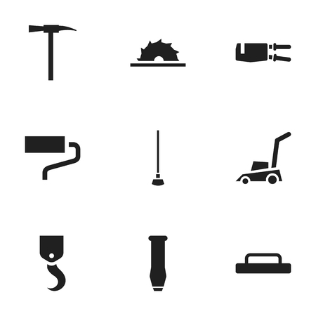 crowbar: Set Of 9 Editable Tools Icons. Includes Symbols Such As Crane, Brush, Grass Cutting Machine And More. Can Be Used For Web, Mobile, UI And Infographic Design.