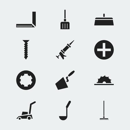 12 편집 가능한 악기 아이콘의 집합입니다. 레이크, 은못, 실런트 및 기타와 같은 기호가 포함됩니다. 웹, 모바일, UI 및 인포 그래픽 디자인에 사용할 수 일러스트