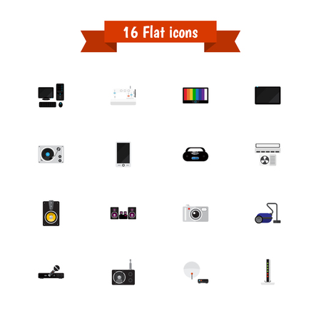 palmtop: Set Of 16 Editable Tech Icons. Includes Symbols Such As Modem, Sweeper, Palmtop And More. Can Be Used For Web, Mobile, UI And Infographic Design.