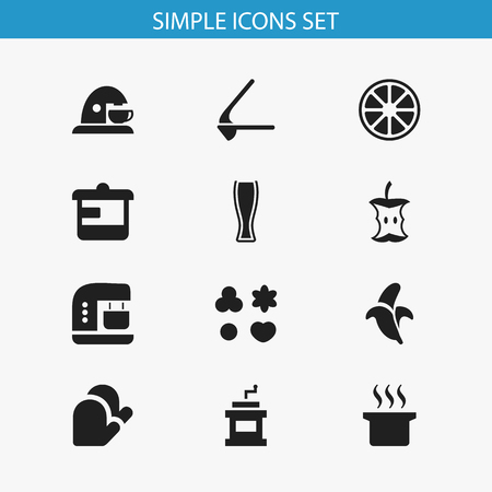 supper: Set Of 12 Editable Food Icons. Includes Symbols Such As Soup Pot, Ale, Mixer And More. Can Be Used For Web, Mobile, UI And Infographic Design.