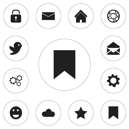 favourite: Set Of 12 Editable Internet Icons. Includes Symbols Such As Emoji, Bookmark, Security And More. Can Be Used For Web, Mobile, UI And Infographic Design.