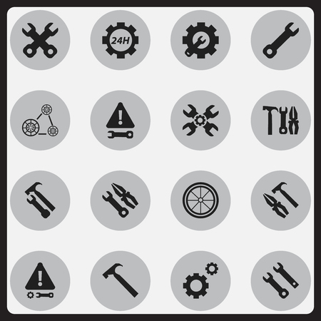 sports application: Set Of 16 Editable Tool Icons. Includes Symbols Such As Wrench Repair, Instrument, Wrench And More. Can Be Used For Web, Mobile, UI And Infographic Design.