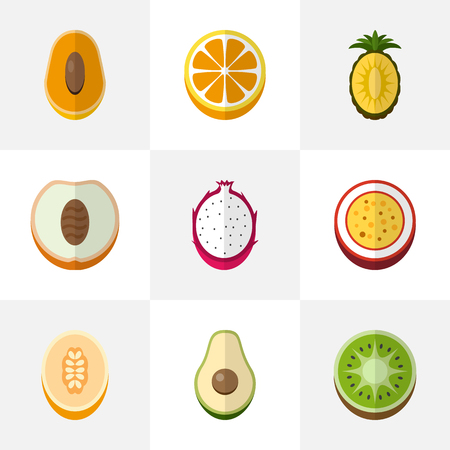 Set Of 9 Editable Berry Icons. Includes Symbols Such As Exotic Dessert, Papaya, Ananas And More. Can Be Used For Web, Mobile, UI And Infographic Design.