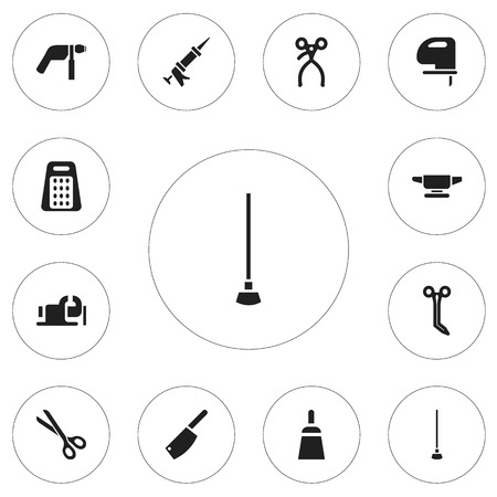caulk: Set Of 12 Editable Equipment Icons. Includes Symbols Such As Sealant, Equipment, Shear And More. Can Be Used For Web, Mobile, UI And Infographic Design.