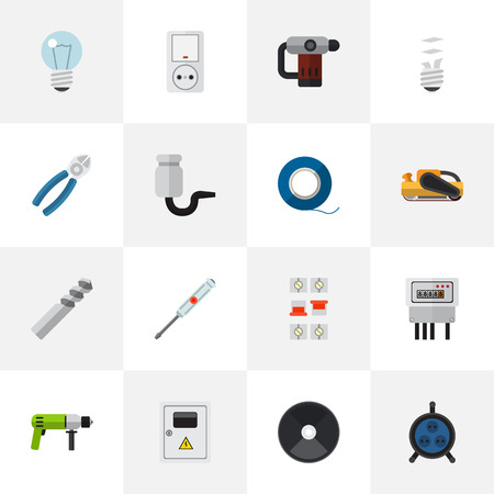 Set Of 16 Editable Electrical Icons. Includes Symbols Such As Auger, Isolator, Nipper And More. Can Be Used For Web, Mobile, UI And Infographic Design.
