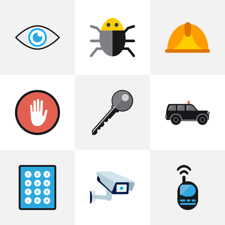 Set Of 9 Editable Procuring Icons. Includes Symbols Such As Password, Stop, Security Camera And More. Can Be Used For Web, Mobile, UI And Infographic Design.