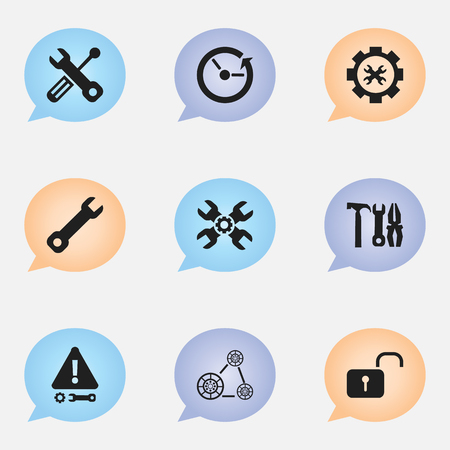 customization: Set Of 9 Editable Repair Icons. Includes Symbols Such As Options, Build Equipment, Wrench And More. Can Be Used For Web, Mobile, UI And Infographic Design. Illustration