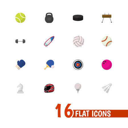 Set Of 16 Editable Training Icons. Includes Symbols Such As Athlete, Golf-Course, Miniball And More. Can Be Used For Web, Mobile, UI And Infographic Design.