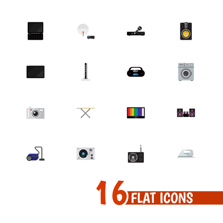 palmtop: Set Of 16 Editable Tech Icons. Includes Symbols Such As Palmtop, Screen, Tuner And More. Can Be Used For Web, Mobile, UI And Infographic Design. Illustration