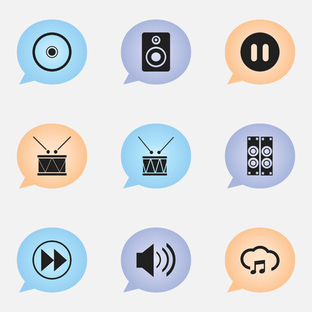 Set Of 9 Editable Song Icons. Includes Symbols Such As Drum, Sky Note, Pause And More. Can Be Used For Web, Mobile, UI And Infographic Design.