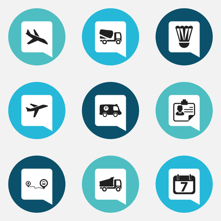 Set Of 9 Editable Complicated Icons. Includes Symbols Such As Lorry, Navigation, Police Vehicle And More. Can Be Used For Web, Mobile, UI And Infographic Design. Illustration